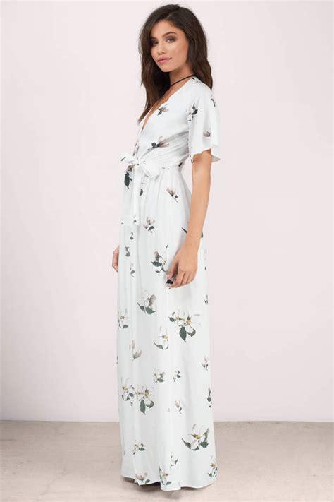 New Dress Flower Maxy 2 By trendy white multi maxi dress front wrap dress maxi
