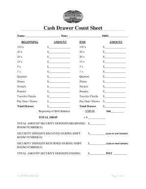 Fillable Online Cash Drawer Count Sheet Affordable Inns Fax Email Print Pdffiller Drawer Count Sheet Template