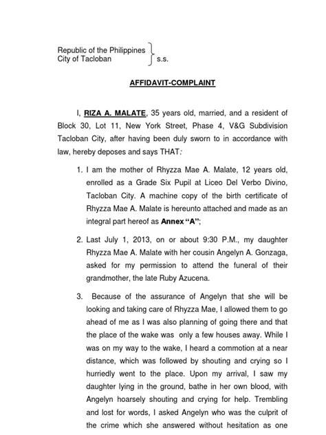 Complaint Letter Format Philippines Complaint Affidavit Murder Docx Government Politics