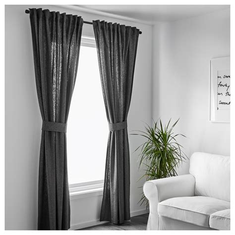 Ikea Textiles Curtains Decorating Ingert Curtains With Tie Backs 1 Pair Grey 145x250 Cm Ikea