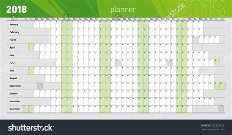 Yearly Wall Planner 2018 Year Template Stock Vector 721223122 Shutterstock Yearly Planner Template 2018