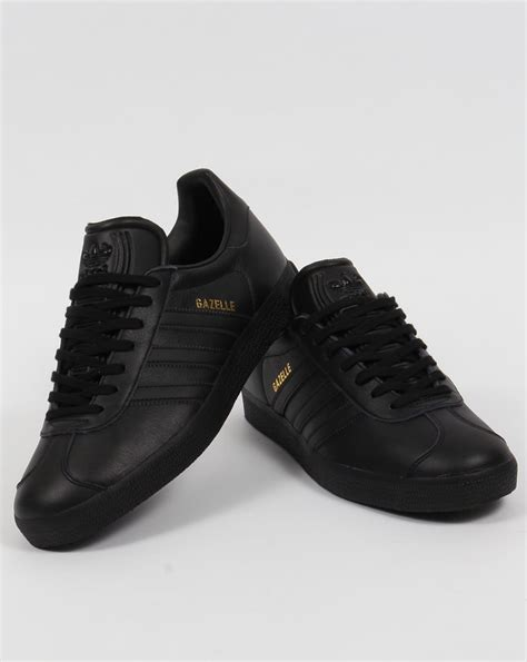 Adidas Black adidas gazelle leather trainers black originals mens