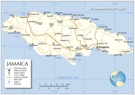 africa map jamaica political map of jamaica nations project