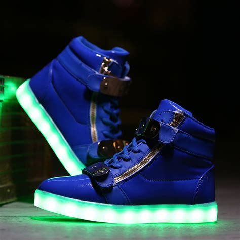 white and gold light up shoes kids led light up high tops flash shoes royal blue gold