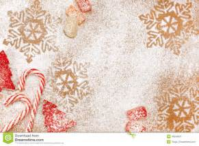 Christmas candy and sweet background with snowflakes and trees stock