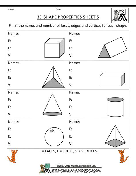 3rd Grade Geometry Worksheets by 3d Shape Properties Sheet Geometry
