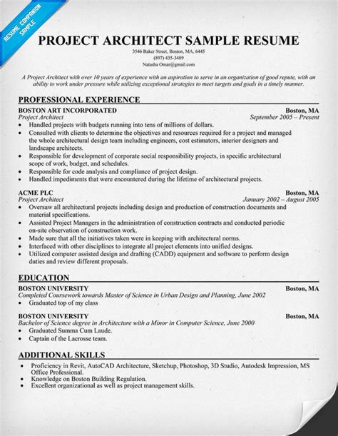 architectural resume aia resume sle