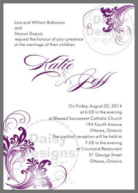 ornate violet wedding invitation template royalty free vector clip