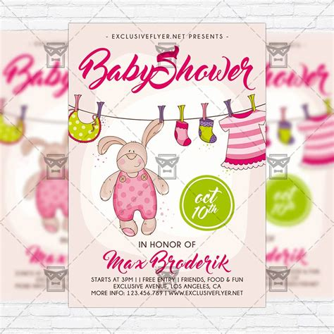 Baby Shower Flyers by Baby Shower Vol5 Premium Flyer Template Instagram Size