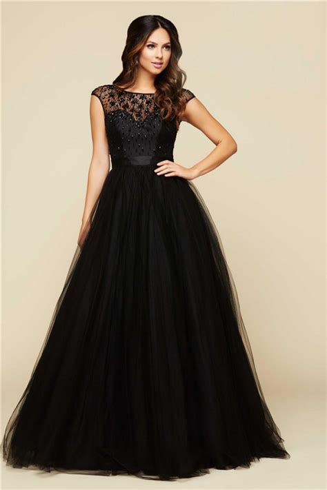 beaded cap sleeve gown gown bateau neck cap sleeve black tulle beaded prom dress