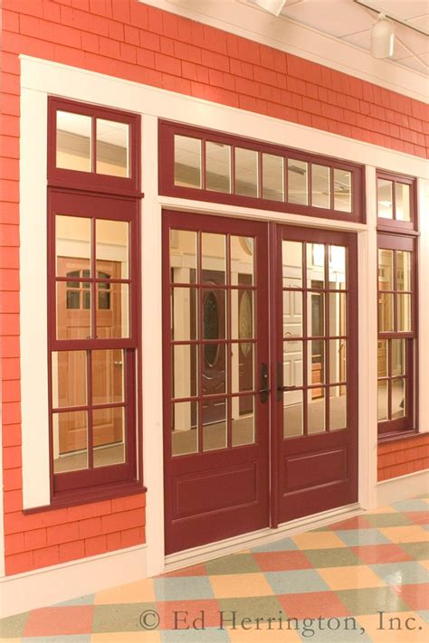 door with hung window marvin ultimate wineberry clad door with transom
