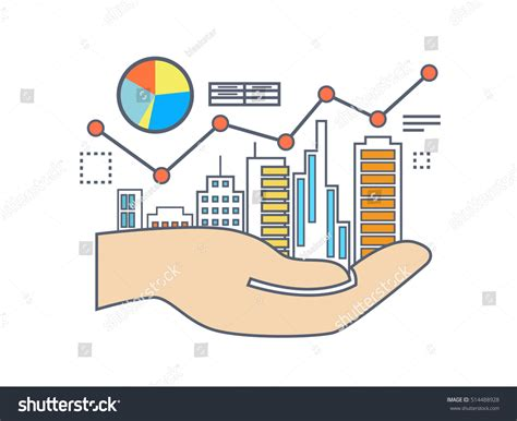 flat line illustration design commercial property stock