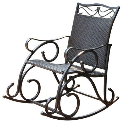 black resin outdoor rocking chairs valencia resin wicker steel rocker mediterranean
