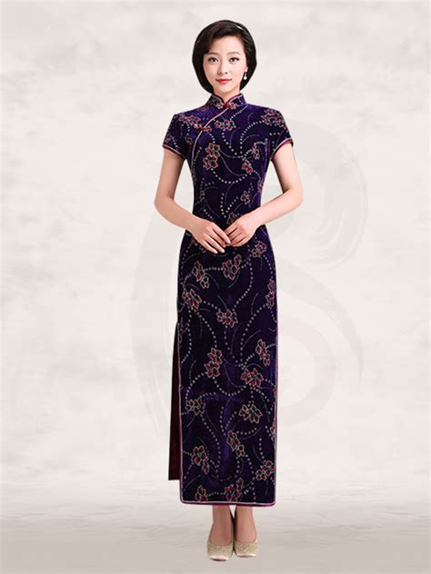 Mandarin Collar Sleeve Dress mandarin collar sleeve black velvet cheongsam