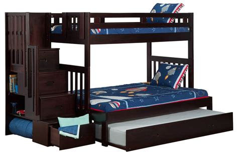 twin over full bunk bed with trundle twin over full bunk bed with trundle bed in espresso the