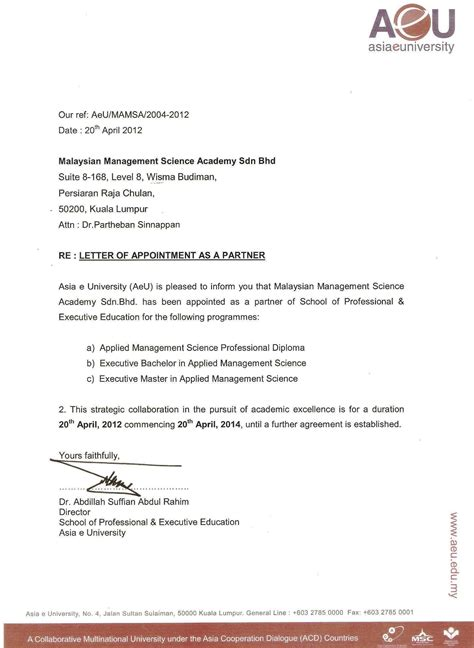 appointment letter of ceo authorization letters mamsa