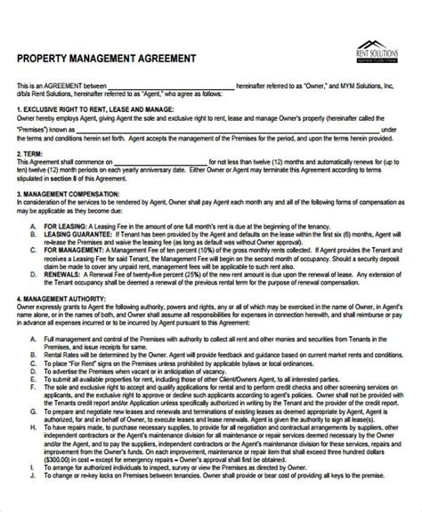 property management agreement template 9 management agreement templates free sle exle
