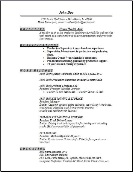 Resume For Home Health Aide by Home Health Aide Resume Occupational Exles Sles