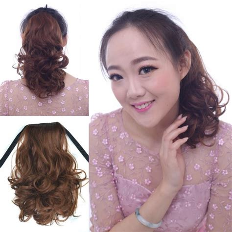 images of hair binding curl style fashion short ponytails 40cm 16 human binding kinky curly