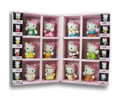 Figure Hello Burger Shop Series With Box Kt 50082 free shipping hello kt cat japanese anime figures 12pcs set constellation gift box