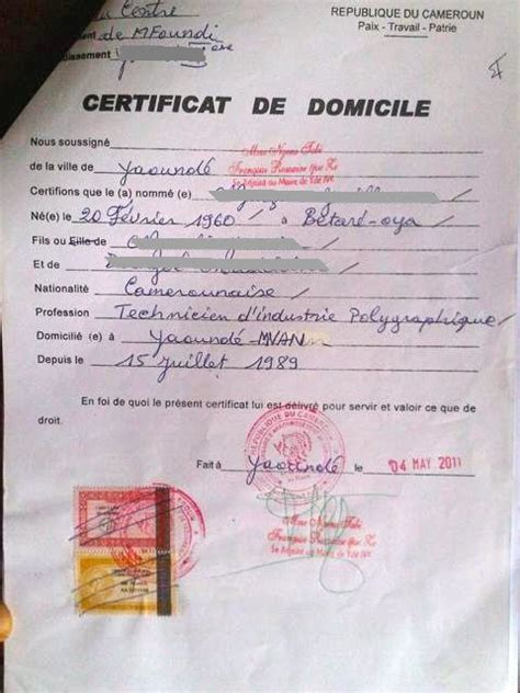 Modèle Certificat De Domicile Mairie eregulations yaound 233