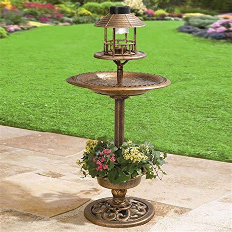 bird bath feeder with solar light and planter solar led lighthed bronze resin weatherproof bird bath