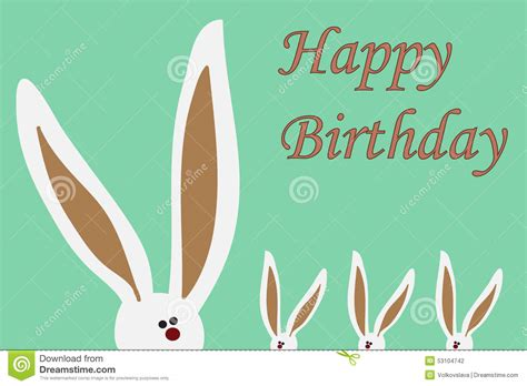 Simple Birthday Card Monochrome Rabbit Set happy birthday card with rabbits stock vector image 53104742