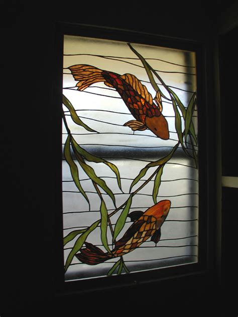stained glass patterns for bathroom windows koi fish stained glass bathroom privacy window