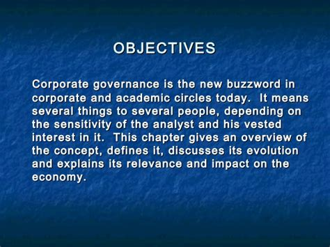 Mba Corporate Governance Notes by Chapter 1 Corporate Governance An Overview