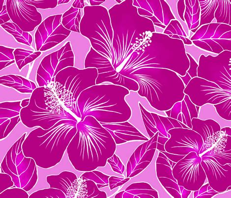 Batik Saidah Magenta Original hibiscus batik magenta on pink 150 fabric kadyson spoonflower