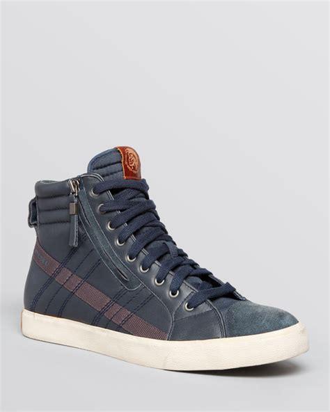 diesel high top shoes diesel d velows d string high top sneakers in blue for