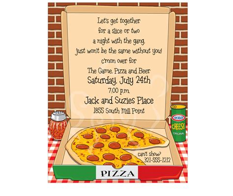 Pizza Party Invitation Theruntime Com Pizza Invitation Template