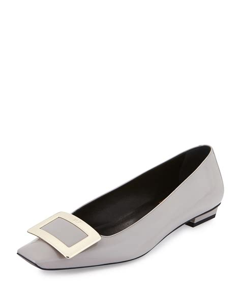 roger vivier flat shoes roger vivier patent vivier flats in gray lyst