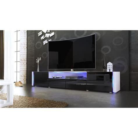 Meuble TV blanc et noir sans LED   Achat / Vente meuble tv