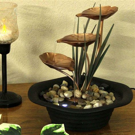led home decor sunnydaze d 233 cor 3 leaf cascading tabletop water fountain w