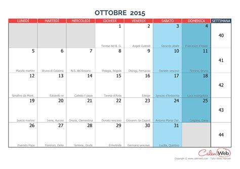 Calendario Ottobre 2015 Calendario Mensile Mese Di Ottobre 2015 Con Le Festivit 224