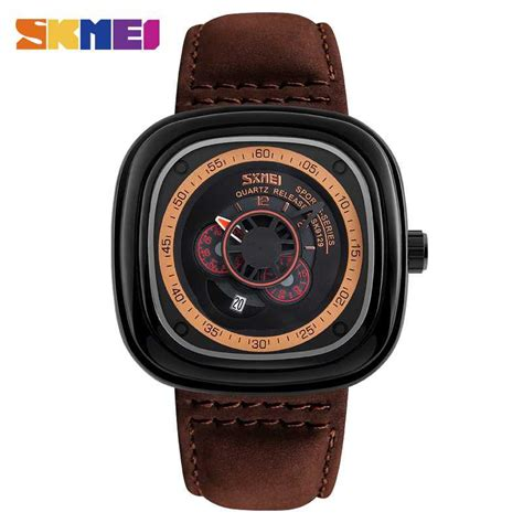 Skmei Casual Leather 9086cl Hitam jual jam tangan pria skmei analog casual leather original 9129