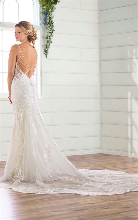 romantic high neckline fit  flare wedding gown