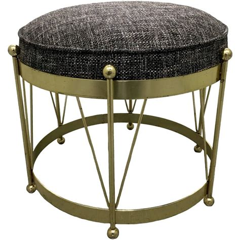 mid century modern brass drum stool for sale at 1stdibs