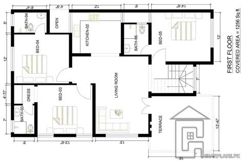 house maps 4 bedrooms images marla map floor and