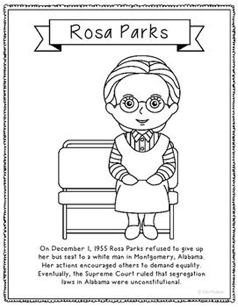 rosa parks biography and coloring pages on pinterest