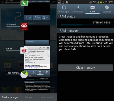 how to clear memory ram of your samsung smartphone - System Memory Android