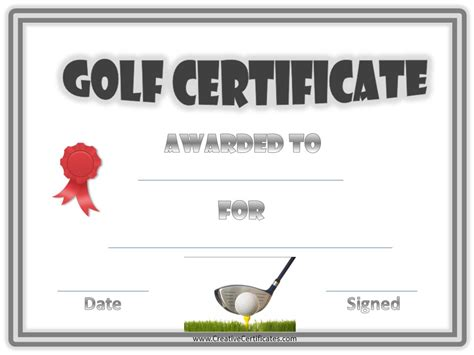 golf certificate template golf awards