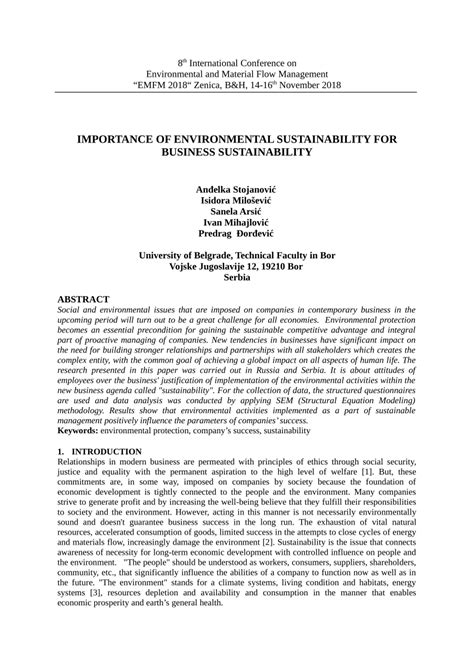 (PDF) IMPORTANCE OF ENVIRONMENTAL SUSTAINABILITY FOR