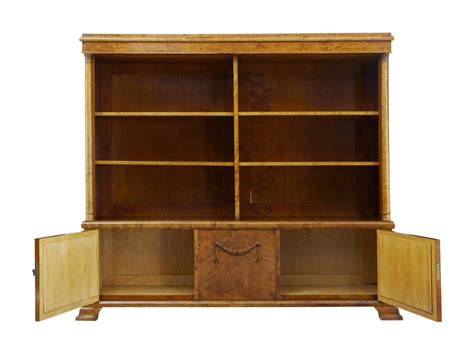 Early 20th Century Empire Revival Birch Bookcase Cabinet Birch Bookshelves