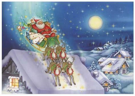 santa and reindeer for roof reindeer santa on roof print
