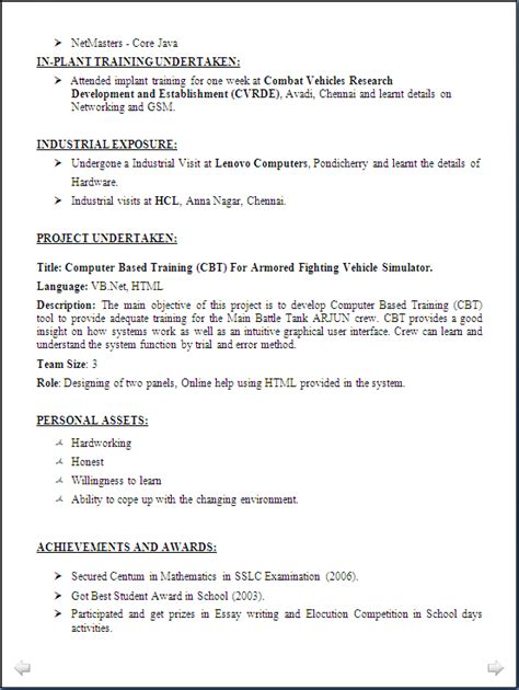 Resume Format For Computer Science Engineering Students Freshers Doc Resume Sle Computer Science Engineering Freshers Resume Formats
