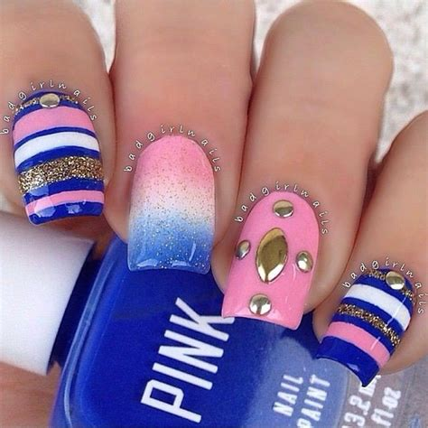 easy nail art pink and blue 20 creative manicure ideas pretty designs
