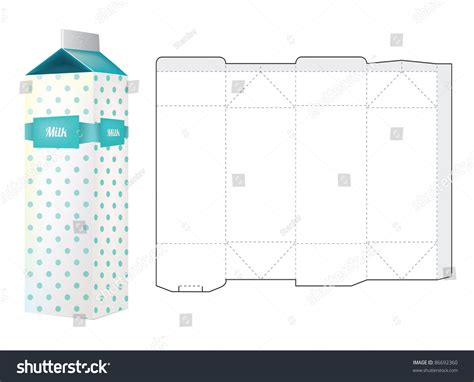 Template Milk Carton Box Stock Vector 86692360 Shutterstock Milk Box Template