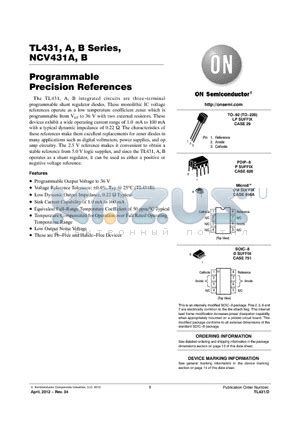 rcr resistors datasheet tl431bvd datasheet programmable precision references tl431bvd pdf by on semiconductor